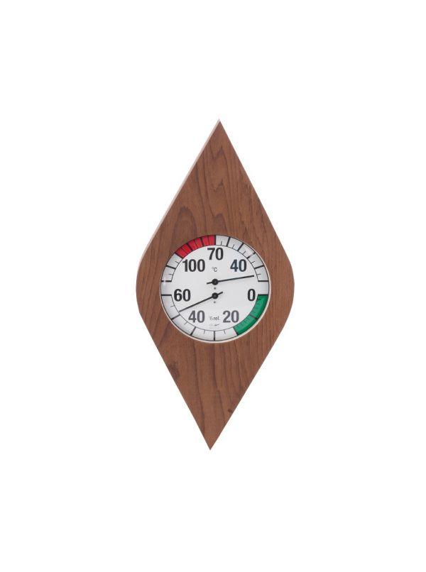 Termo-higrometr do sauny w obudowie z termowanego drewna zegar biały bimetal Eliga