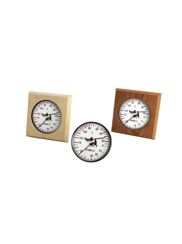 Termo-higrometr do sauny w obudowie z termowanego drewna zegar biały bimetal Eliga kwadratowy 180mm