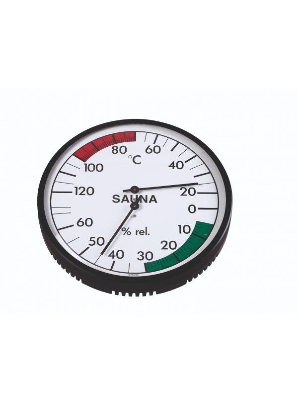 Termo-higrometr do sauny w czarnej obudowie zegar biały bimetal Eliga okrągły 160mm