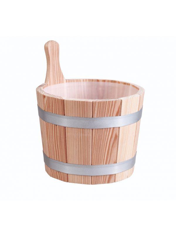 Ceber do sauny 5l Eliga metalowe obręcze - modrzew z plastikowym wypełnieniem