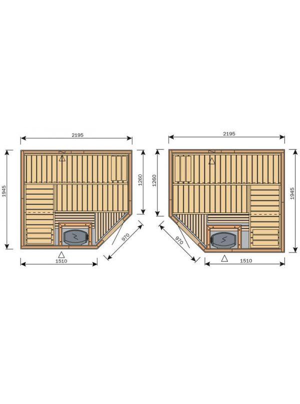 Sauna Harvia Variant Formula 2,2m x 1,95m  S2220R L