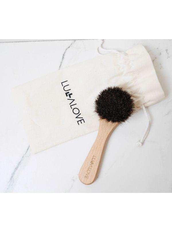 Profesjonalna szczotka do twarzy i szyi - naturalne włosie by Lullalove