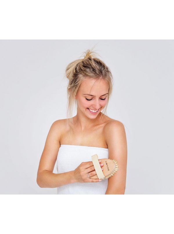 Okrągła szczotka tampico do masażu na sucho by Lullalove