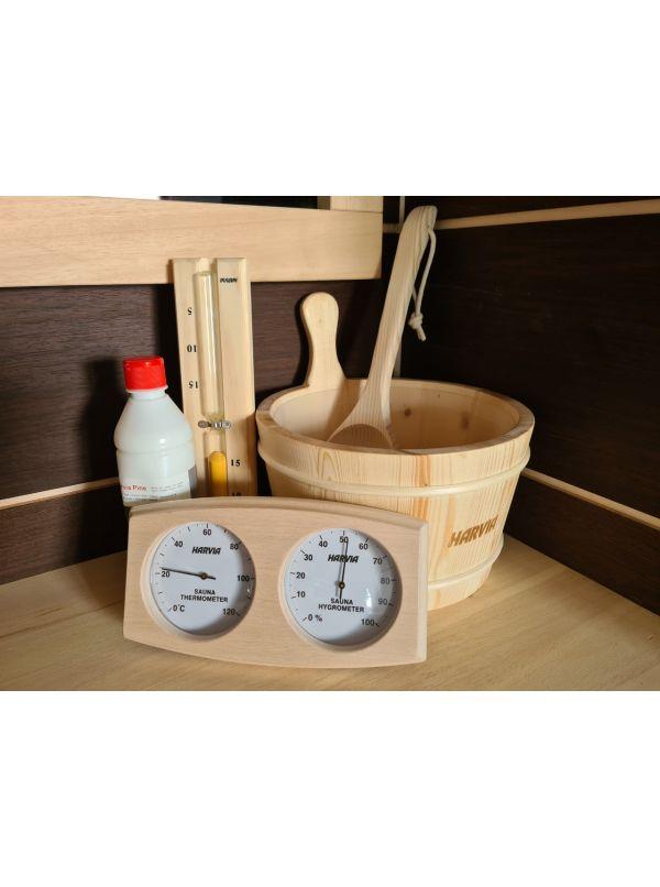 Zestaw akcesoriów do sauny Harvia - Ceber chochla termohigrometr klepsydra aromat