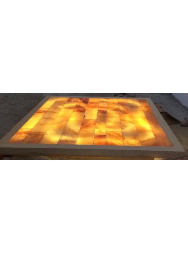 Panel solny z podświetlaniem Led do sauny w ramie drewnianej